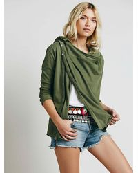 Free People   Green We The Free Womens We The Free Wrap Ruffle Cardi   Lyst