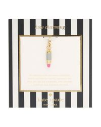 kate spade new york | Pink How Charming Lipstick Charm | Lyst