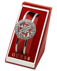 Guess | Metallic Logo And Crystal Two-row Bangle Bracelet | Lyst