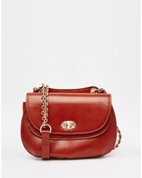 Mango - Red Chain Detail Saddle Bag - Lyst