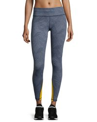 Zobha - Gray Printed Contrast-trim Performance Leggings - Lyst