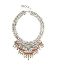 BCBGMAXAZRIA - Metallic Baguette-stone Statement Necklace - Lyst