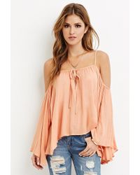 Forever 21 | Pink Drapey Open-shoulder Blouse | Lyst