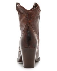 Frye | Tabitha Pull On Short Boots - Dark Brown | Lyst