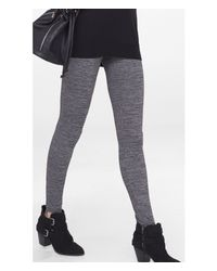 Express - Marled Gray Textured Stretch Legging - Lyst