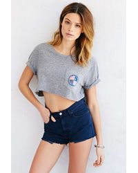 Monrow - Gray High On Life Cropped Top - Lyst