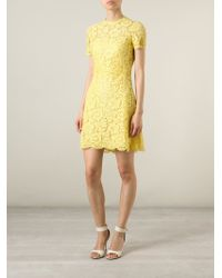 Valentino - Yellow Lace Dress - Lyst