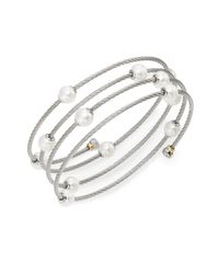 Alor | Metallic Classique 1.6mm White Round Freshwater Pearl, 18k White Gold & Stainless Steel Bracelet | Lyst