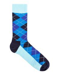 Happy Socks - Blue Argyle Cotton Blend Socks for Men - Lyst