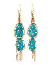 Panacea | Blue Quartz Beaded Chain Drop Earrings | Lyst