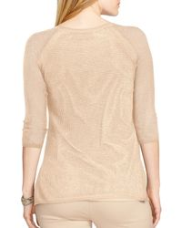 Ralph Lauren - Natural Lauren Linen-blend Mesh Sweater - Lyst