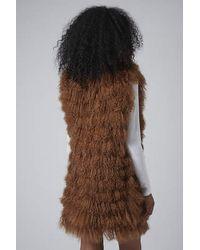 TOPSHOP - Brown Luxe Mongolian Sheepskin Longline Gilet - Lyst