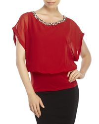 Joseph A | Red Embellished Blouson Top | Lyst