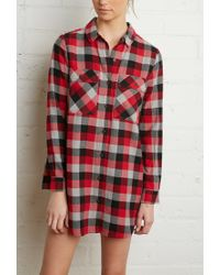 Forever 21 | Red Buffalo Plaid Shirt Dress | Lyst