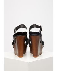 Forever 21 | Black Crisscross Wedge Slingback Sandals | Lyst