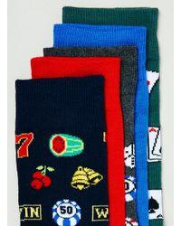 TOPMAN - Multicolor Gambling Motif 5 Pack Socks for Men - Lyst