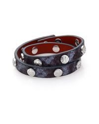 Tory Burch | Blue Logo Stud Embossed Leather Double-wrap Bracelet/silvertone | Lyst