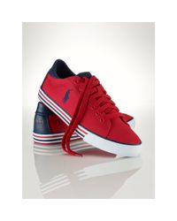 Polo Ralph Lauren | Red Canvas Harvey Sneaker for Men | Lyst
