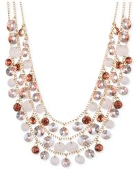 Nine West | Metallic Gold-Tone Crystal Multi-Layer Necklace | Lyst