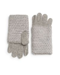 Portolano | Gray Marled-knit Paneled Gloves | Lyst