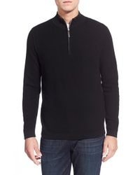 Tommy Bahama | Black 'seaside Lux' Cotton & Cashmere Half Zip Sweater for Men | Lyst