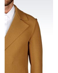 Emporio Armani - Natural Double-breasted Coat for Men - Lyst