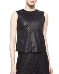 Theory | Black Mowita Laser-Cut Leather Top | Lyst