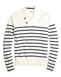 Brooks Brothers - Blue Nautical Stripe Shawl Collar Sweater for Men - Lyst