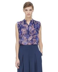 Rebecca Taylor - Purple Sonic Garden Sleeveless Silk Top - Lyst