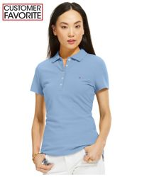 Tommy Hilfiger | Blue Solid Polo Top | Lyst