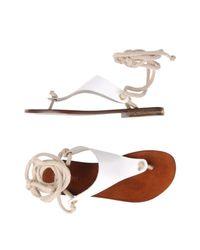 Studio Pollini - White Thong Sandal - Lyst