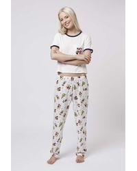 TOPSHOP - Natural Mickey Pyjama Set - Lyst