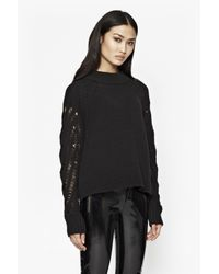 French Connection - Black Kora Laddered Sleeves Jumper - Lyst