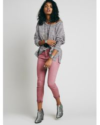 Free People | Red Rolled Cropped Skinny | Lyst