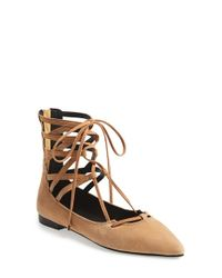 Jeffrey Campbell | Natural 'atrium' Lace-up Flat | Lyst