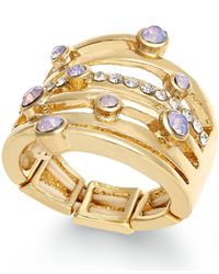 INC International Concepts - Purple Gold-tone Pink Scatter Stone Stretch Ring - Lyst