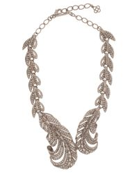 Oscar de la Renta | Metallic Feather Crystal Necklace | Lyst