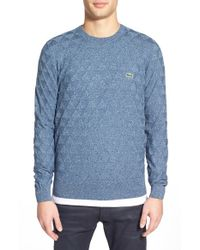 Lacoste | Blue Lacoste L!ve Geometric Textured Crewneck Sweater for Men | Lyst