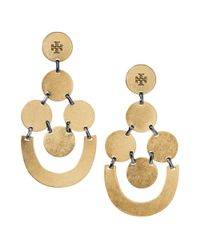 Tory Burch | Metallic Disc Chandelier Earring | Lyst