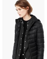 Mango - Black Quilted Feather Coat - Lyst