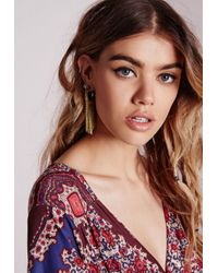 Missguided | Metallic Tassel Drop Earrings | Lyst