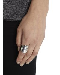 Givenchy - Metallic Sliver Tone Buckle Ring - Lyst