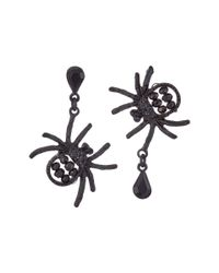 Betsey Johnson | Pitch Black Spider Non-matching Earrings | Lyst