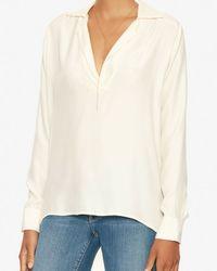 FRAME - White Hi/lo Silk Tunic - Lyst