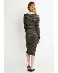 Forever 21 | Green Striped Midi Dress | Lyst