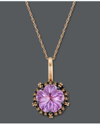 Le Vian - Purple Amethyst (3 Ct. T.W.) And White And Chocolate Diamond (1/3 Ct. T.W.) Oval Pendant In 14K Rose Gold - Lyst