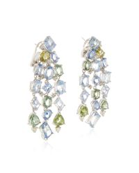 Gioia - Multicolor Blue & Green Sapphire And Diamond Drop Earrings - Lyst