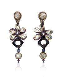 Naeem Khan | Multicolor Onyx And Metal Mesh Covered Pearl Chandelier Earrings | Lyst