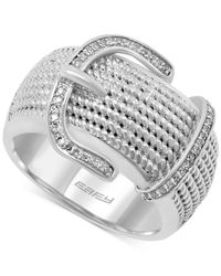 Effy Collection - Metallic Effy Balissima Diamond Buckle Ring (1/6 Ct. T.w.) In Sterling Silver - Lyst