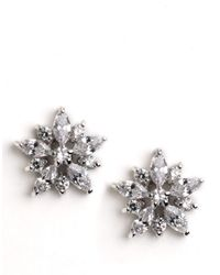 Lord & Taylor | Metallic Sterling Silver Cubic Zirconia Flower Earrings | Lyst